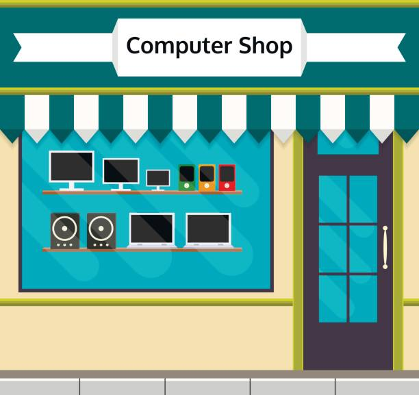 Electronics clipart electronics store. Computer shop front or