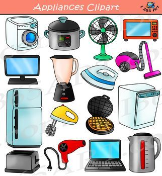 Electronics clipart home electronics. Appliances household set clip