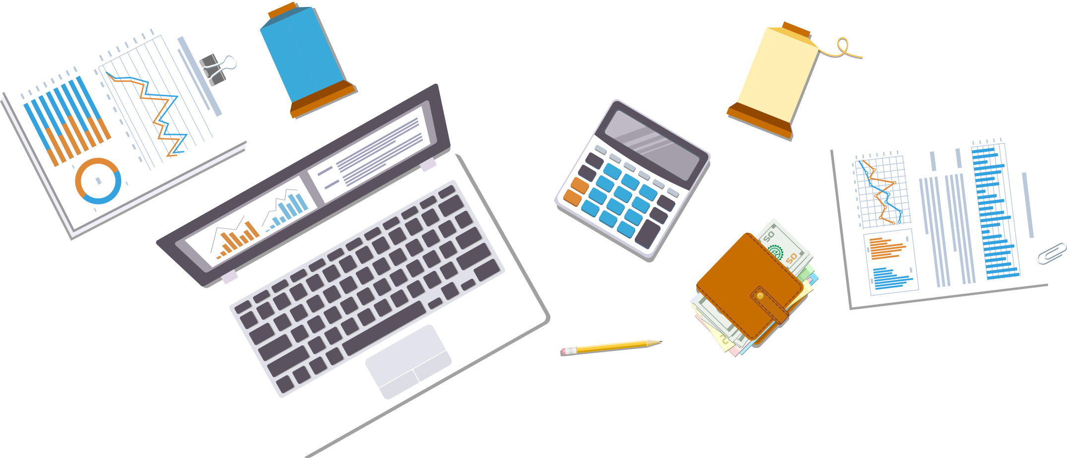 Profit calculator items background. Electronics clipart office equipments