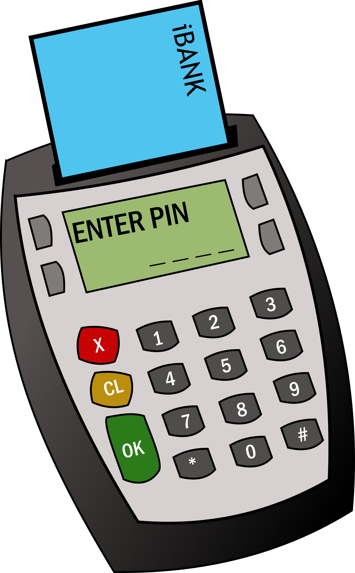 Electronics clipart office equipments. Chip and pin machine
