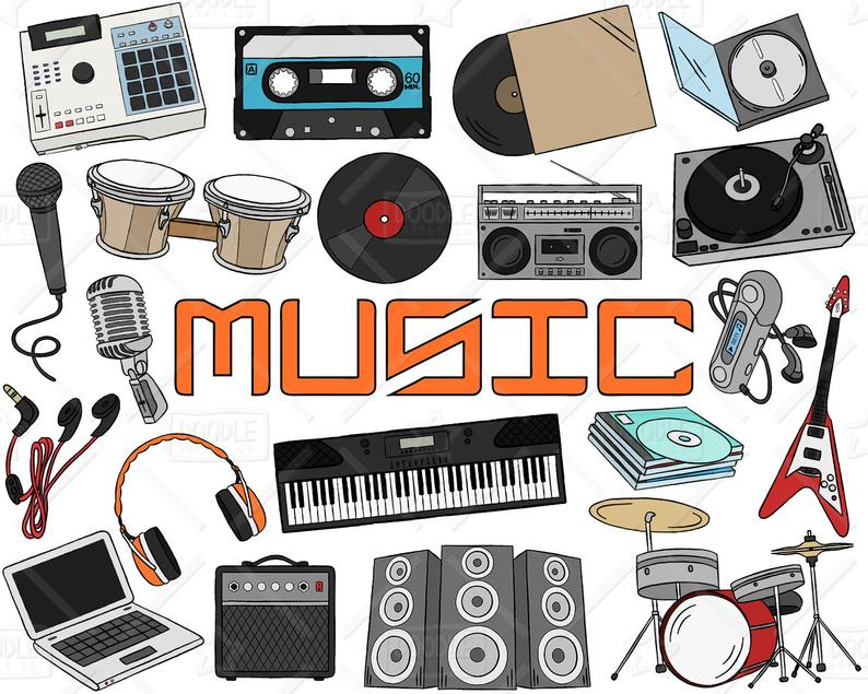 Music pack electronic doodles. Electronics clipart vector