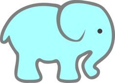 Free stencils blue baby. Elephant clipart