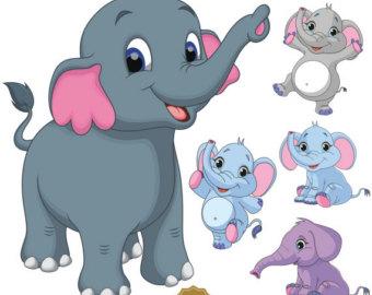 Elephants clipart. Elephant clip art etsy