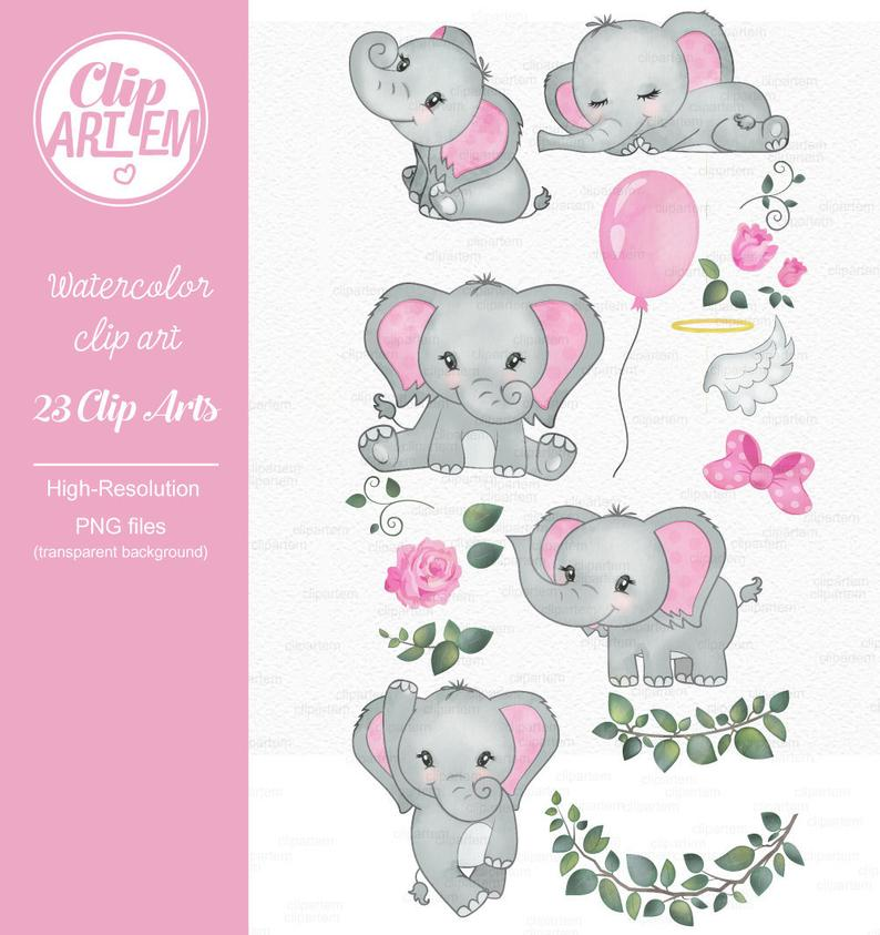 Clip art watercolor gray. Elephant clipart baby girl