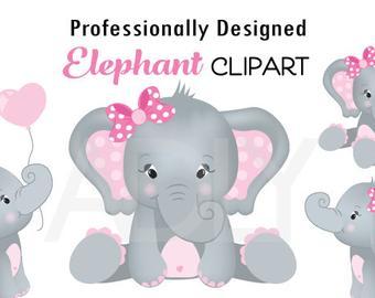 Elephant clipart baby girl. Etsy