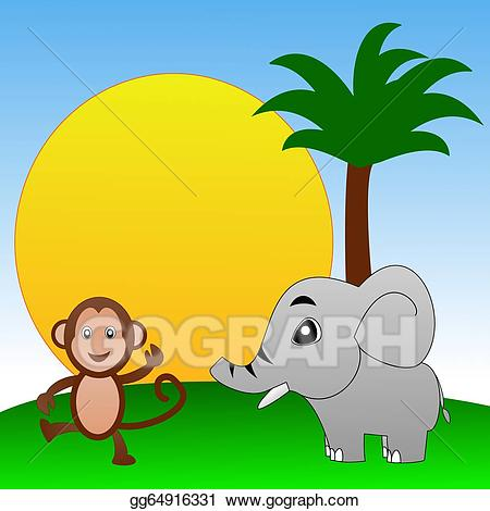 Stock illustration fairy tale. Monkey clipart elephant