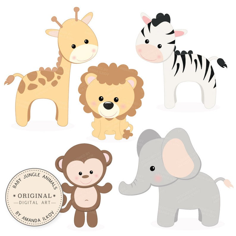 Professional baby animals set. Jungle clipart vector art