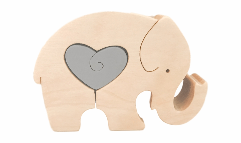 Wooden heart stuffed toy. Elephant clipart puzzle