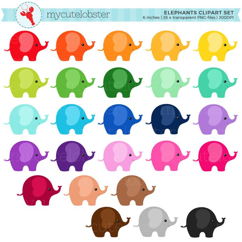 Elephant clipart rainbow. Elephants set clip art