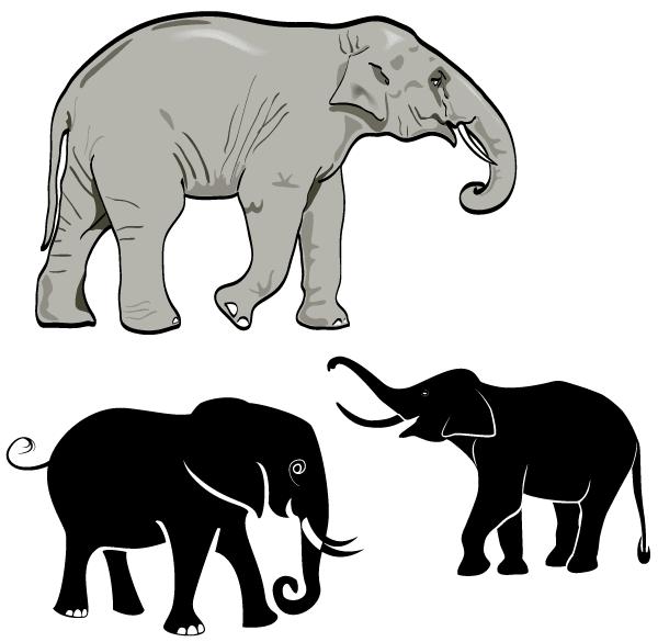 Elephants clipart vector. Free elephant art vectors