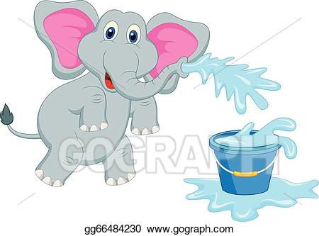 Vector illustration elephant blowing. Elephants clipart water