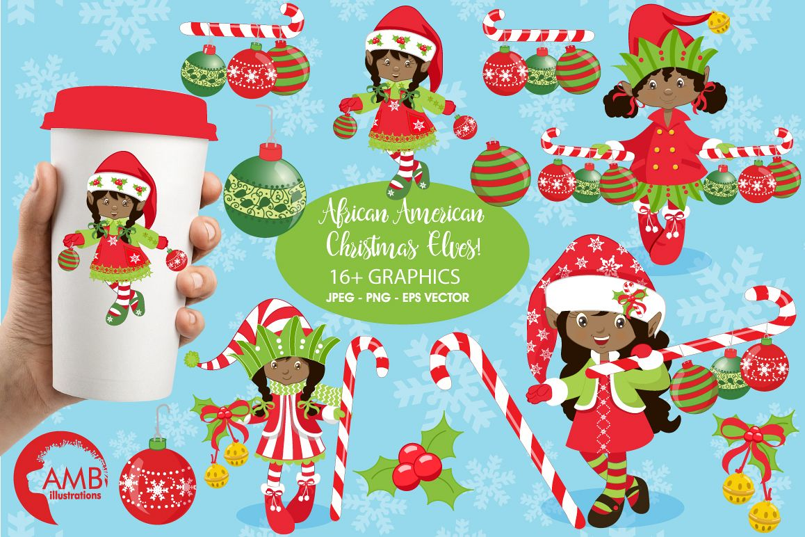 African American Santa Elf Clip Art Stock Illustration - Illustration of  green, caricatures: 3696795