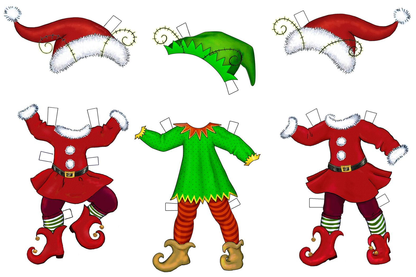 Elf cut out patterns. Elves clipart clothing