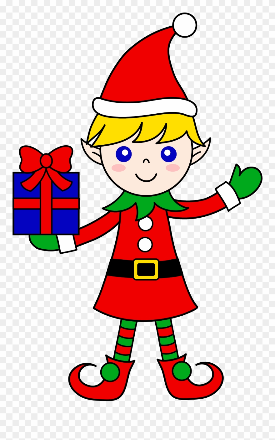 Cute christmas elf with. Elves clipart gift