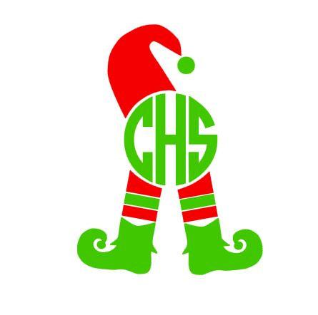 Christmas elf frame digital. Elves clipart monogram