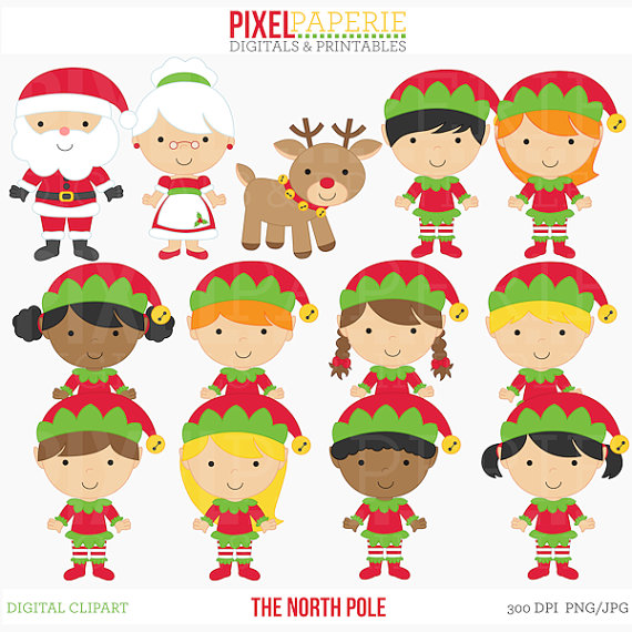 Christmas digital clip art. Elves clipart north pole