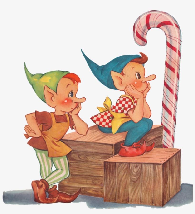 Elf vintage christmas png. Elves clipart retro