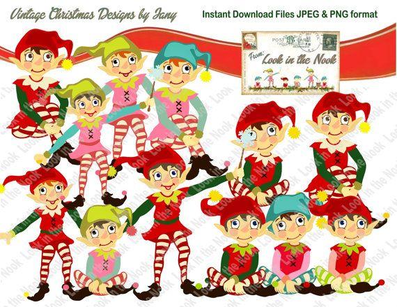 Christmas elf graphic designs. Elves clipart retro