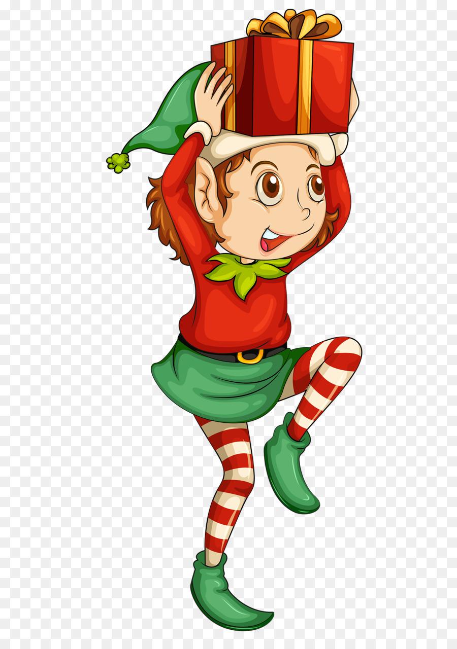 Christmas illustration cartoon . Kiss clipart elf