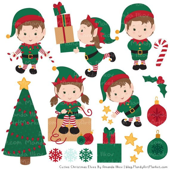 Elf clipart simple. Cute christmas elves patterns