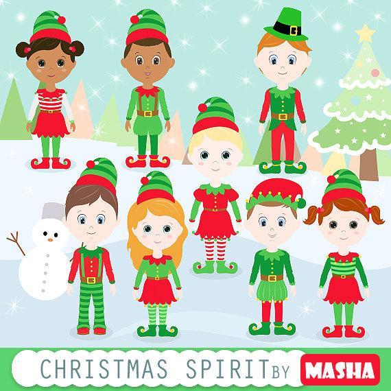 Elves clipart spirit. Christmas with elf clip