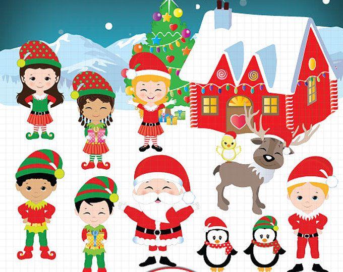 Christmas with elf . Elves clipart spirit