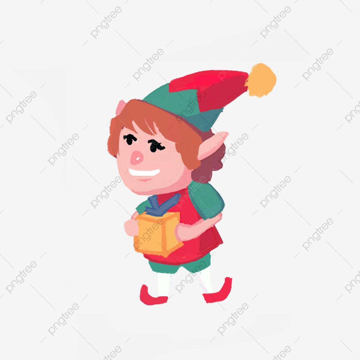Elves clipart spirit. Christmas elf gift box