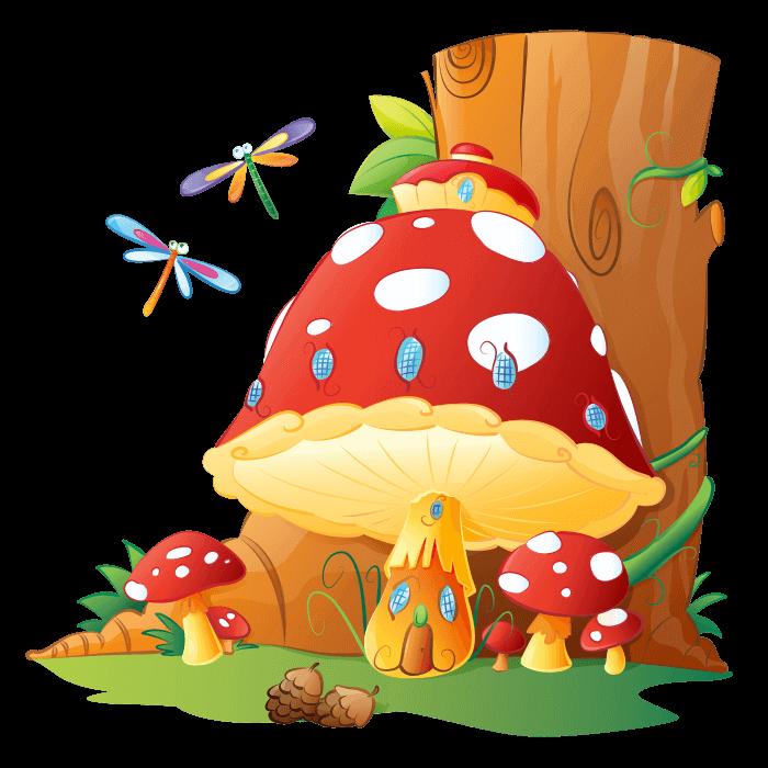 Fairies and elves wall. Mushroom clipart mushroom home