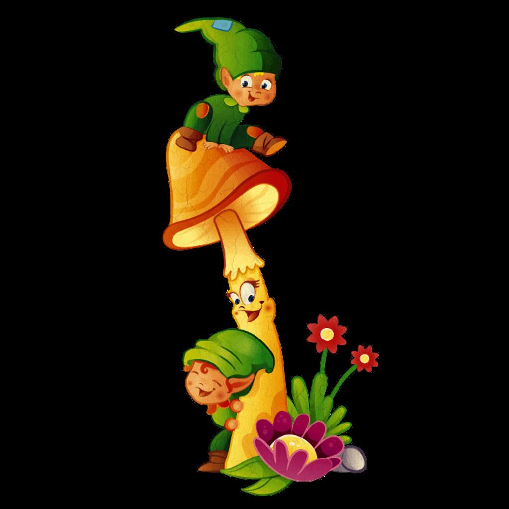 Elves mushroom flowers playful. Elf clipart sticker