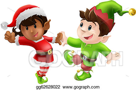 Elves clipart two. Eps vector christmas dancing