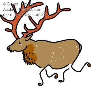 Image of a whimsical. Elk clipart