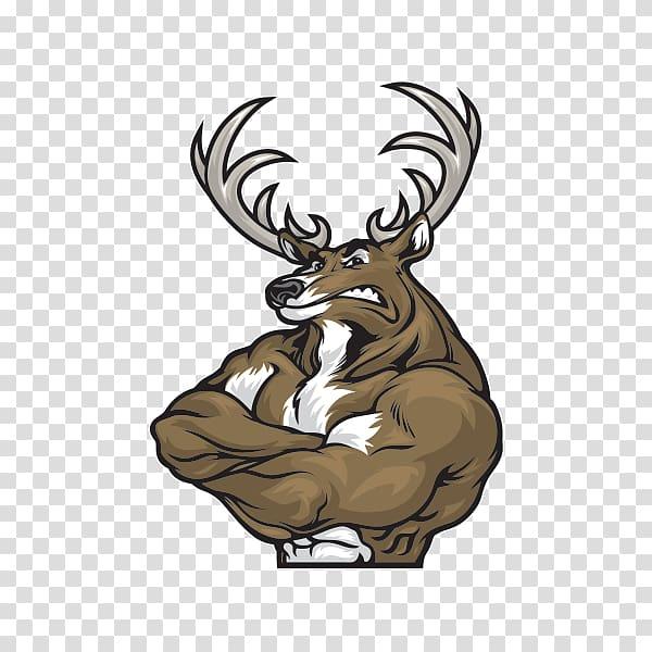 Reindeer roe deer muscle. Elk clipart logo