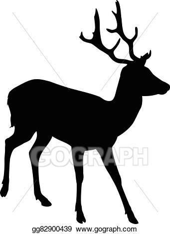 Vector illustration silhouette eps. Elk clipart male deer