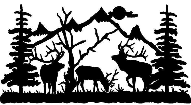 Elk clipart scene. Deer silhouette clip art