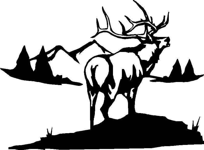 Hunting clipart elk. Big graphic rock painting