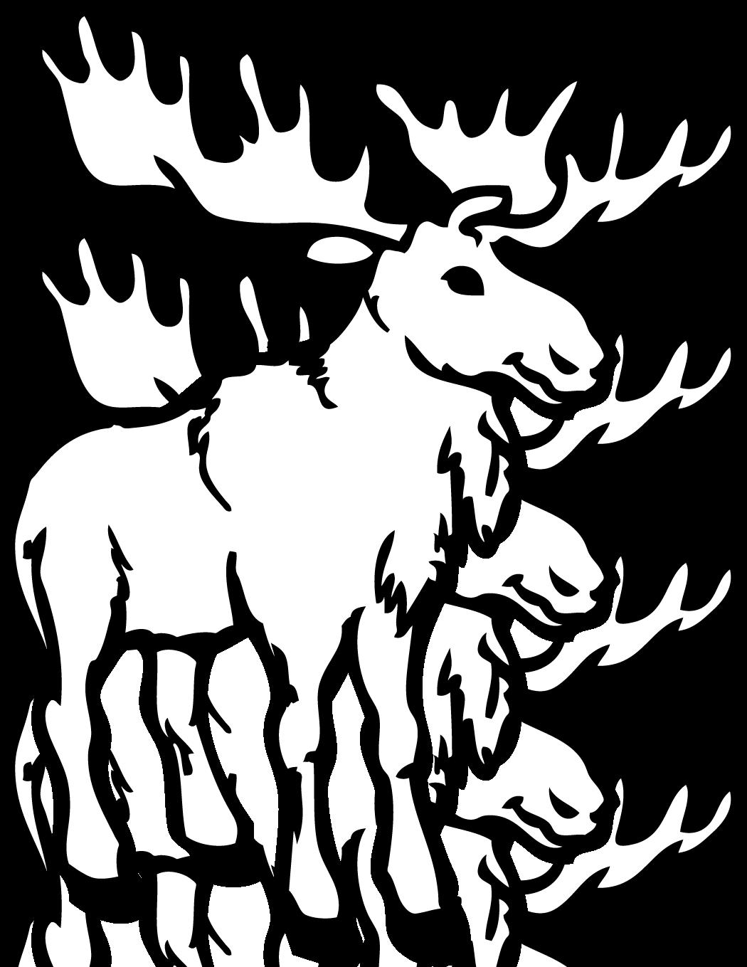Moose clipart wildlife alaska. Deer coloring book adult
