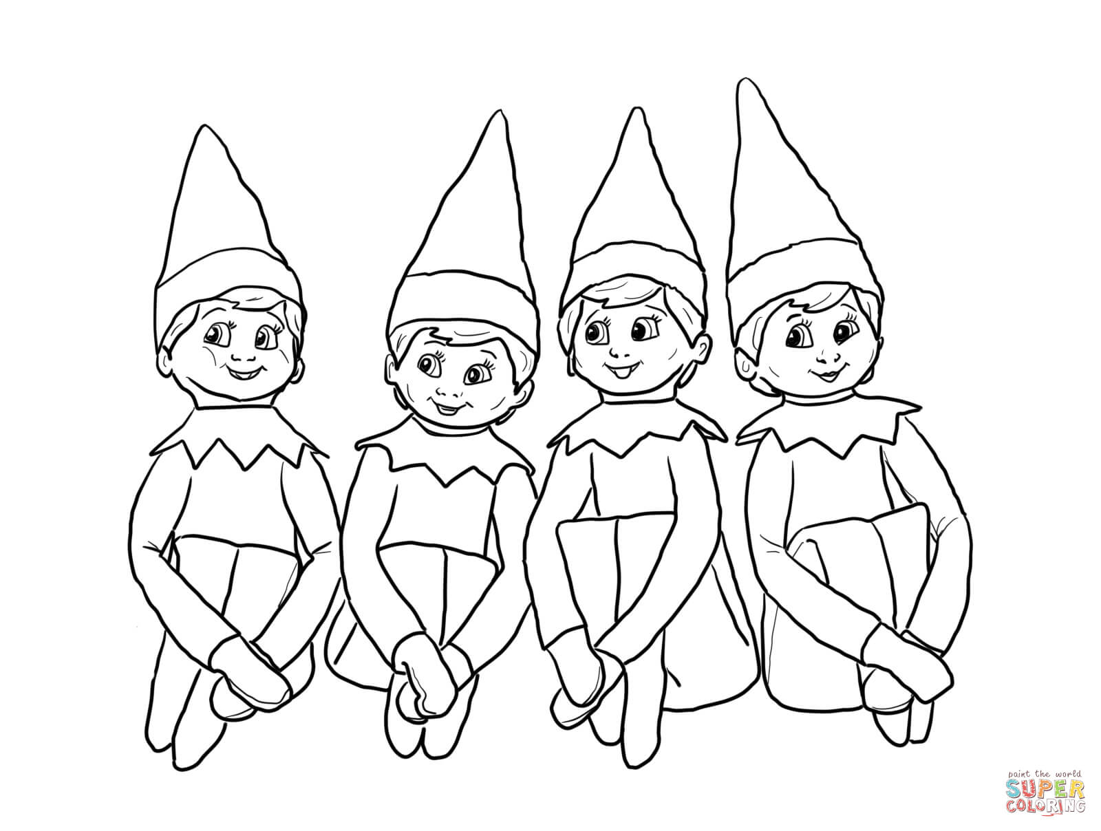 Pictures Christmas Elves Coloring Pages - Funny Christmas Coloring ... | 1208x1600