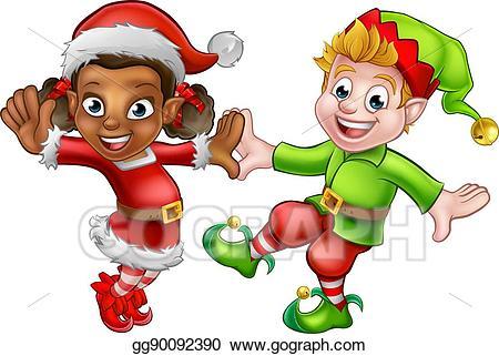 Elves clipart dancing elf. Vector art christmas eps