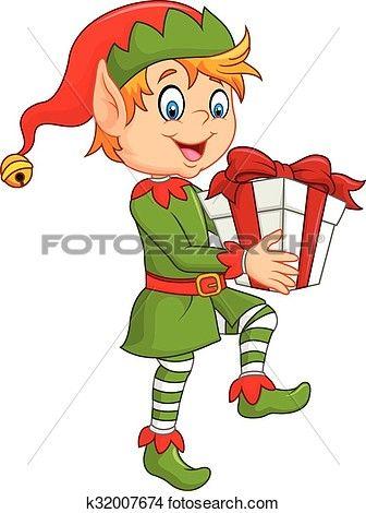 Elves clipart gift. Happy green elf boy