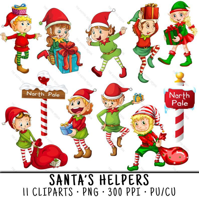 Elf christmas clip art. Elves clipart north pole