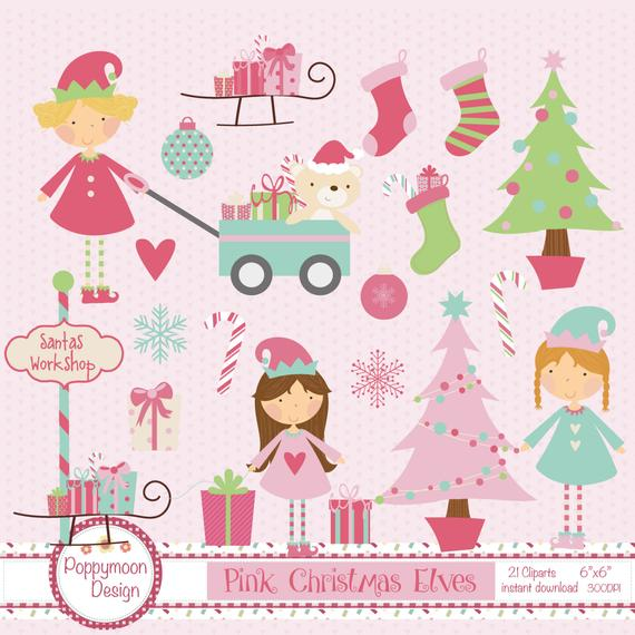 Elves clipart pink. Christmas printable digital set