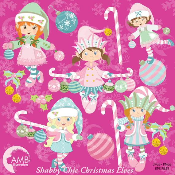 Christmas shabby chic girl. Elves clipart pink