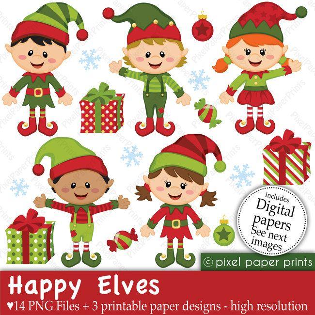 Christmas happy clip art. Elves clipart printable