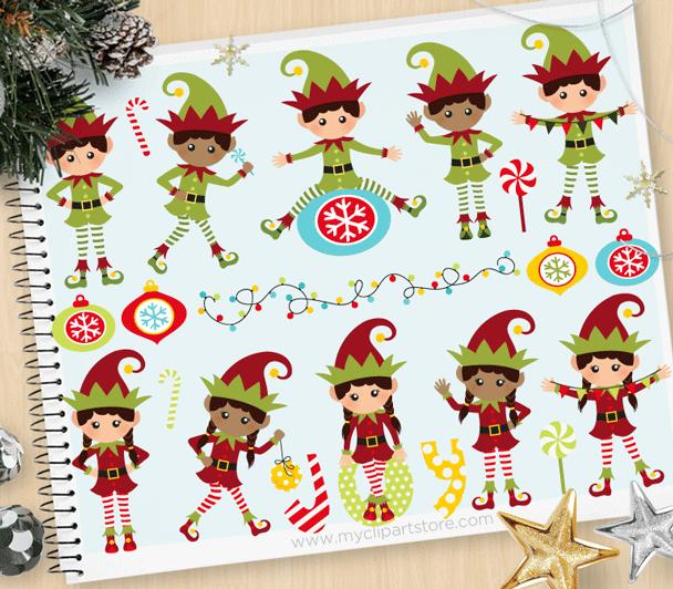 Elves clipart sticker. Santa s