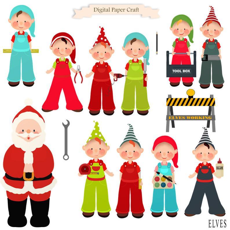 Christmas elf santa instant. Elves clipart tool
