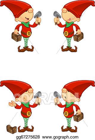 Elves clipart tool. Vector art red elf