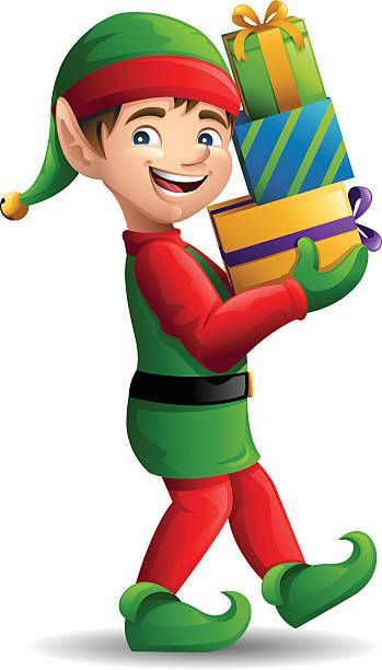 Elves clipart top. Christmas elf carrying presents
