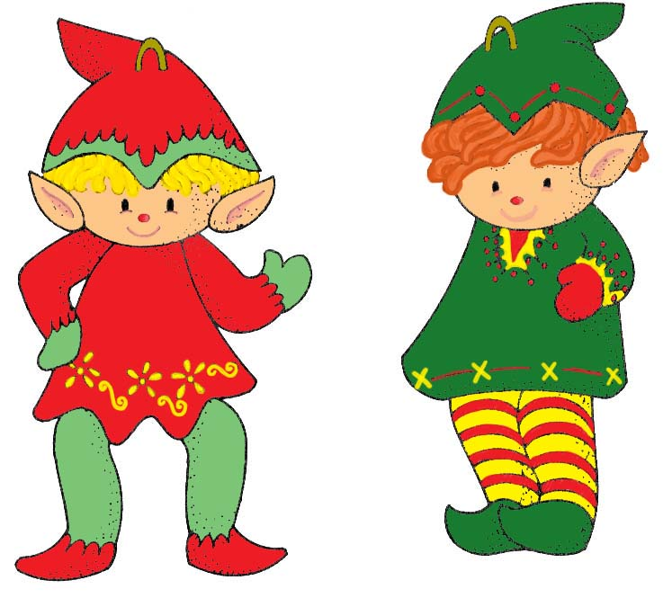 Free christmas images download. Elves clipart two