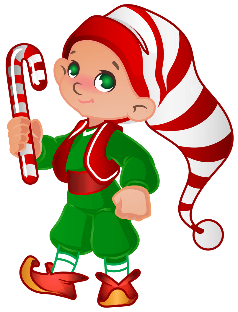 Cartoon pictures of santa. Elves clipart two
