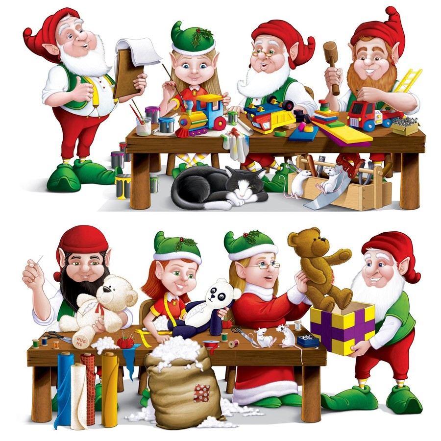 Christmas product holiday graphics. Elves clipart workshop